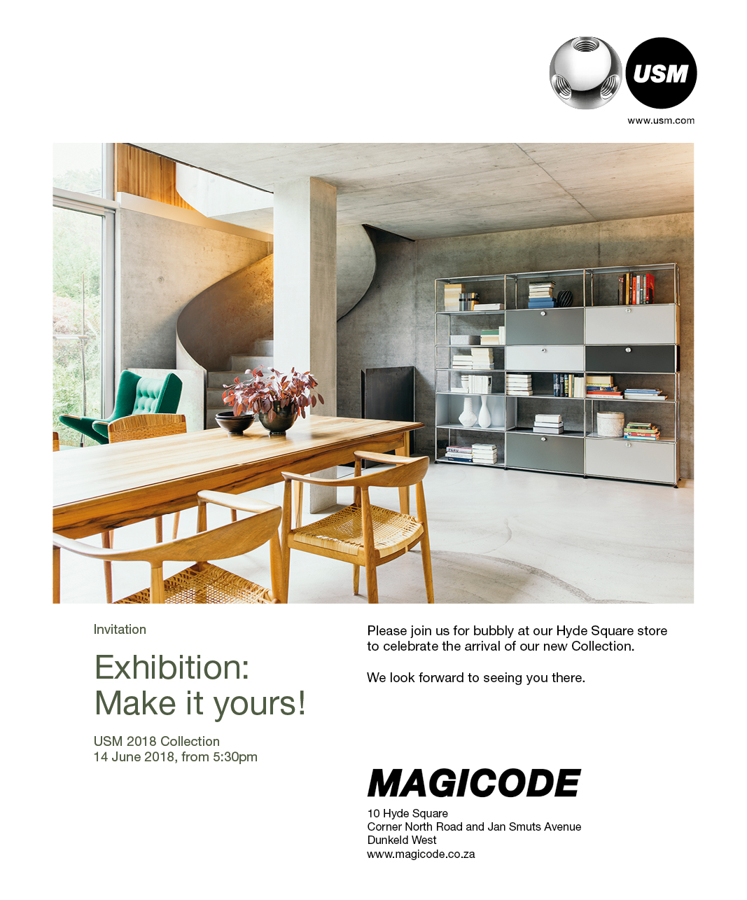 Exhibition invitation – USM 2018 Collection: 14 June 2018