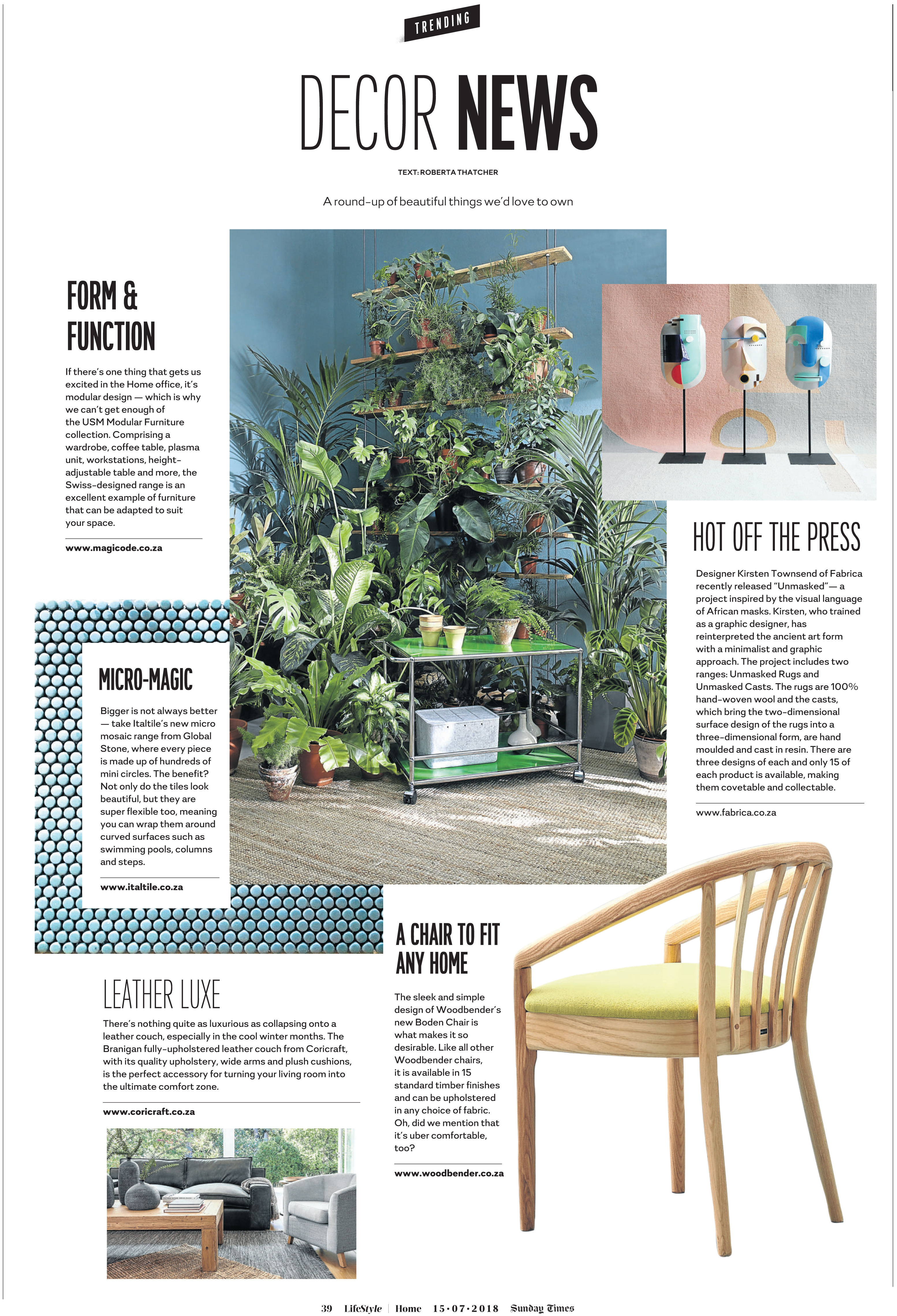 Form and Function – Decor News, Sunday Times Home Weekly, 15 July 2018